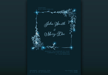 Dark Blue Wedding Invitation Layout with Light Natural Accents