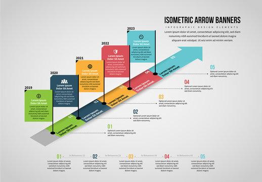 Isometric Arrow Banners Infographic