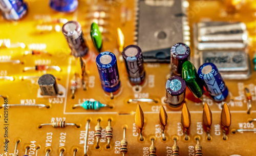 electronic components resistors and capacitors on TV circuit