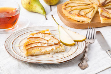French quiche stuffed with blue cheese and pears, very delicious and tasty cake