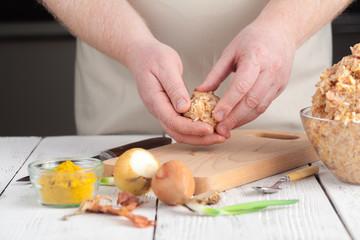 Cooking diet chicken meatballs for healthy dinner