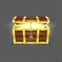 Vector 3d Realistic Opened Empty Retro Vintage Antique Old Treasure Wooden brown Pirate Dower Chest with a Glow, Golden Metal Stripes and Padlock and Keyhole Closeup Isolated on Transparent Background