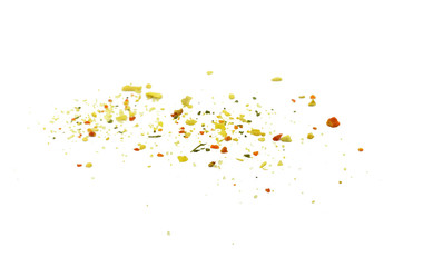Grounded spice ingredient of dry mix vegetables isolated on white. Vegeta spices. A pile of a yellow spice mix.  Spices consist dried dehydrated vegetables carrot paprika onion garlic parsnip parsley