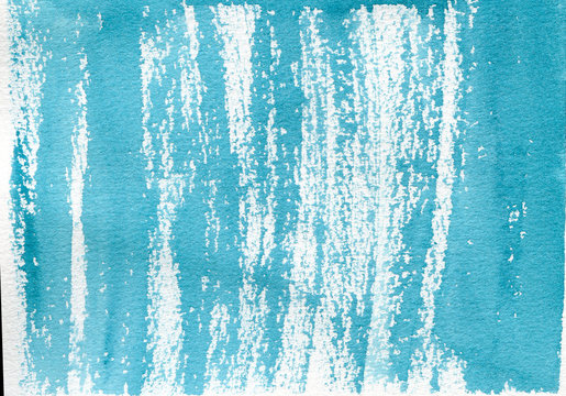 Sea watercolor. Blue lines watercolor stains abstract background. Hand drawn illustration
