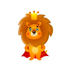 Cute kid lion king with gold crown and red mantle