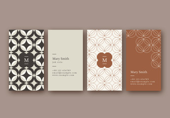 Vertical Patterned Business Card Layouts in Muted Colors