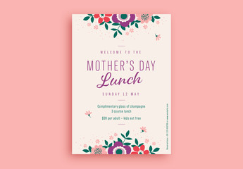 Mother's Day Lunch Flyer Layout with Illustrative Flowers