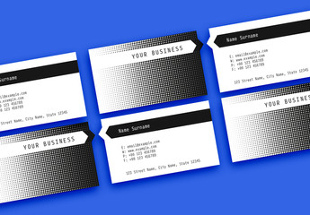 Black and White Patterned Business Card Layout with Cutout