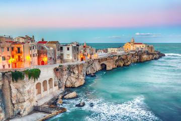 Acrylic Prints Purple Vieste - beautiful coastal town on the rocks in Puglia