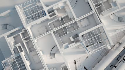 Aerial view of apartment mock up