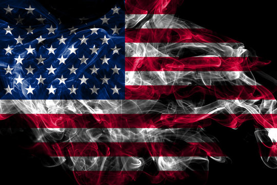 United States smoke flag isolated on black background