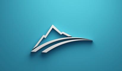 White Mountain road logo. 3D Render illustration