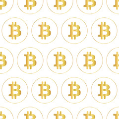 Bitcoin icon seamless vector pattern. Metallic gold foil crypto currency symbols on white background.
