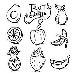 Fruit doodle icons