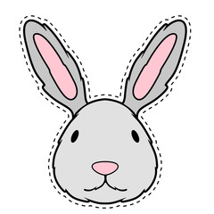 Cute bunny face dotted sticker. Vector illustration design