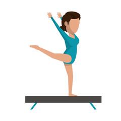 gymnast on balance barrier