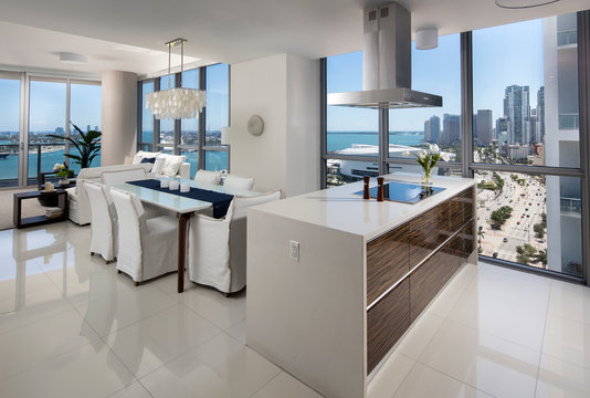 Miami apartment overall Living and Dining Space with Stunning View to downtown miami and biscayne bay.