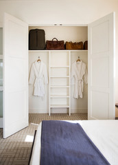 Interior closet with robes and suitcases