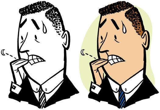 A nervous man biting his fingernails.
