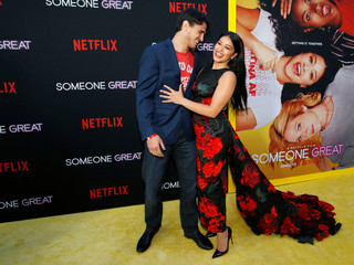 """Cast member Gina Rodriguez and her fiance Joe LoCicero attend a screening for the film """"Someone Great"""" in Los Angeles"""