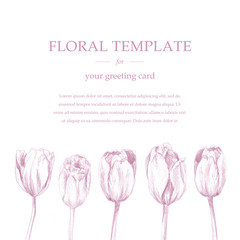 Greeting/invitation card template design, pink tulip flowers