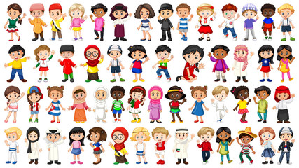 Set of international kids character