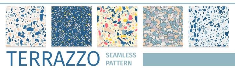 Fototapeta Lettering Set Terrazzo Seamless Pattern Design
