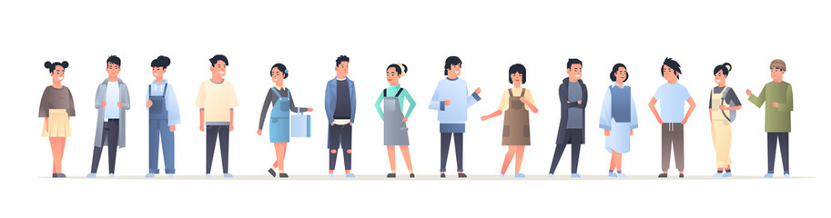 Wall Mural - young asian men women group wearing casual clothes happy attractive guys girls standing together chinese or japanese female male cartoon characters full length flat horizontal