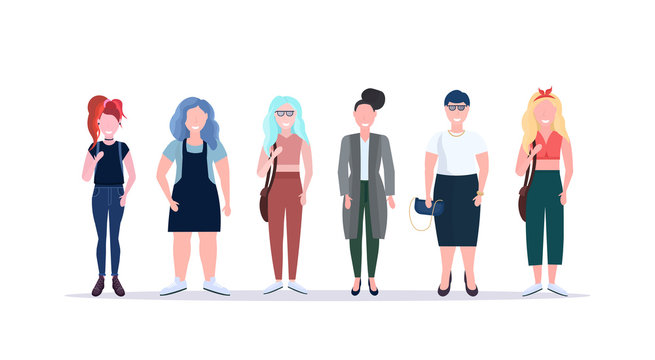 casual women standing together smiling different body shape types and hairstyles girls female cartoon characters full length flat white background horizontal