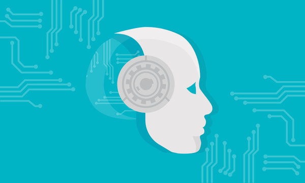 AI technology. Artificial Intelligence Technology with Machine Learning Head and Code Robot Vector Illustration