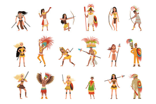 Aztec warriors set, men and women in traditional clothes and headgear with weapon vector Illustrations on a white background