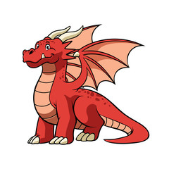 cartoon red dragon in smiling face