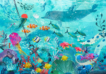 blue underwater background with fish