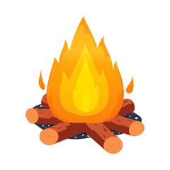 Vector illustration of bonfire and fire logo. Collection of bonfire and flame stock vector illustration.