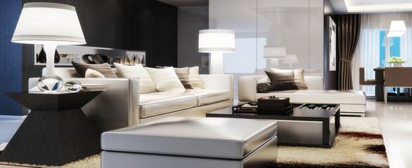 Modern Furnishing (panoramic) - 3d visualization