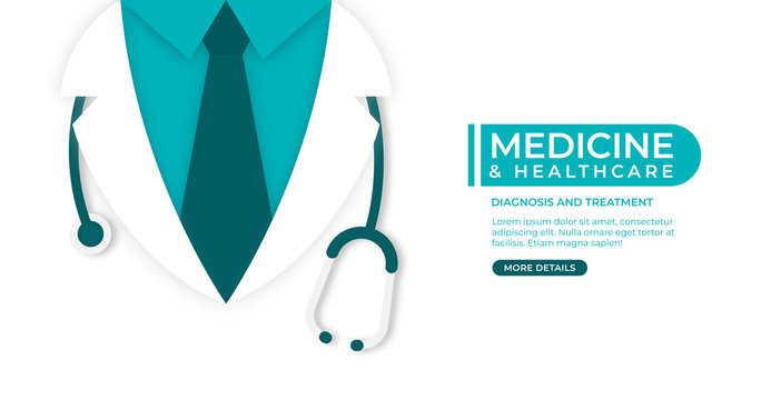 Medical and health care concept background. Doctor in lab coat with stethoscope on white background