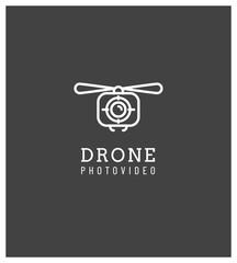 drone, logo, symbole, appareil photo, vue aérienne