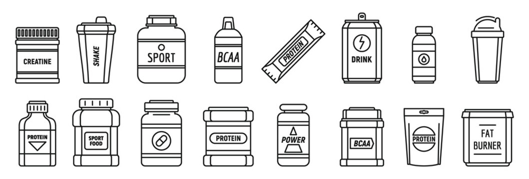 Protein sport nutrition icons set. Outline set of protein sport nutrition vector icons for web design isolated on white background