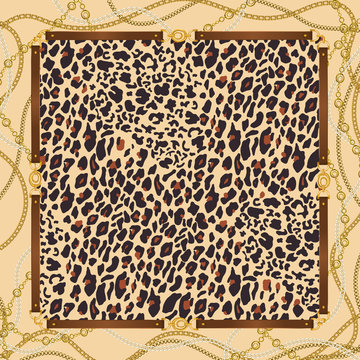 Fashion  background with  leopard pattern, golden chains and belts. Animal print with gold chain for fabric, scarf, textile, wrapping, wallpaper. Vector illustration