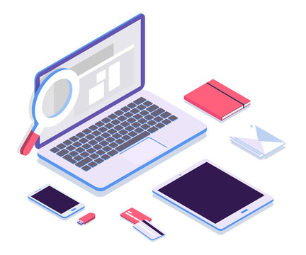 Isometric vector set of computer, laptop, tablet, smart-phone, book, usb, credit cards. Work space or desk, 3d devices on modern white background.