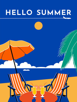 Hello Summer travel poster. Sunny day, beach, sea, umbrella, chair, chaise longue, cocktail, palm tree, plane, sky, cruise liner. Vector flat illustration.