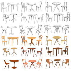 vector isolated set of chair and table