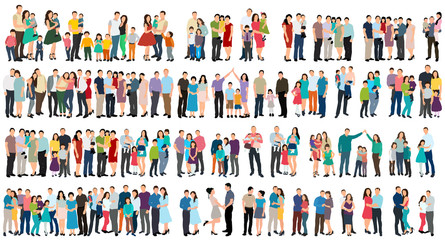vector, isolated, set of people in flat style