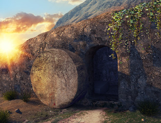 He is Risen. Crucifixion at Sunrise. The Tomb Of Jesus. Outside view on Tomb. 3D illustration