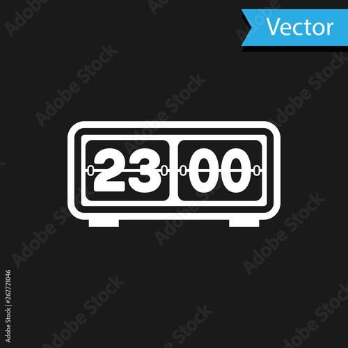 White Retro flip clock icon isolated on black background  Wall flap