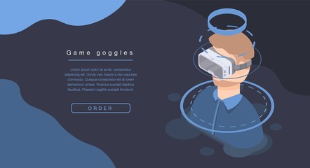 Game goggles concept banner. Isometric illustration of game goggles vector concept banner for web design