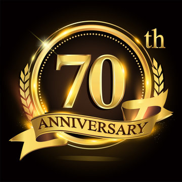 70th golden anniversary logo with ring and ribbon, laurel wreath vector design.