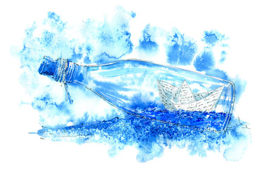 Paper boat in a bottle. Sea picture. Watercolor hand drawn illustration.