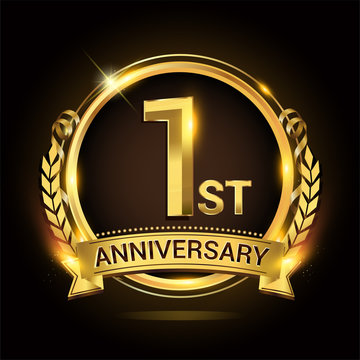 1st golden anniversary logo, 1 years anniversary celebration with ring and ribbon, Golden anniversary laurel wreath design.