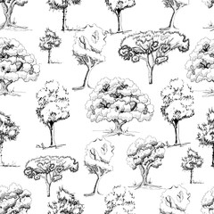 Seamless pattern with monochrome hand drawn trees in sketch style isolated on white background.